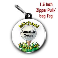 Golf zipper pull, pin, or magnet personalized with name, city/state or club CH484