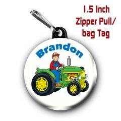 Farmer zipper pull, pin, or magnet personalized with name of choice CH439