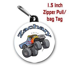 Monster truck zipper pull, pin, or magnet personalized with name of choice CH282