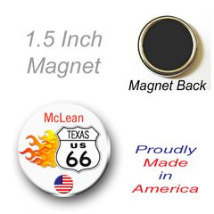 1.5 Inch Magnet Personalized Route 66 with City and State