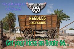 Route 66 fridge magnet featuring display in Needles, CA