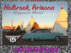 Route 66 fridge magnet featuring Wigwam Motel in Holbrook, AZ