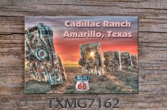 Route 66 fridge magnet featuring the world famous Cadillac Ranch