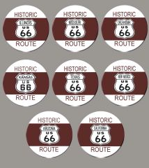 Route 66 pins from all 8 states that comprised the Route