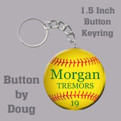 Keyring with Personalized Softball Graphics
