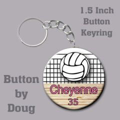 1.5 Inch Round Keyring with Personalized Volleyball Graphics CH524KR