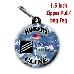 Navy zipper pull, pin, or magnet personalized with name and rank CH505NV