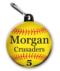 Softball zipper pull, pin, or magnet personalied with name, number, team and color CH191