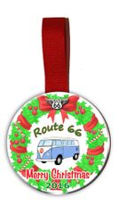 Route 66 Christmas Tree Ornament Double Sided with VW Bug Graphics