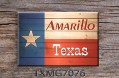 Texas Fridge Magnet with state flag on wood graphics with city name