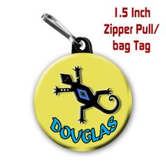 Lizard zipper pull, pin, or magnet personalied with name CH224