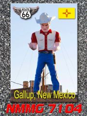 Route 66 fridge magnet featuring Muffler Man in Gallup, NM