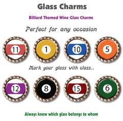 Wine glass charms set of 8 billiard themed charms