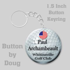 1.5 Inch Round Keyring with Personalized Golf Graphics