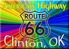 Route 66 fridge magnet personalized with city/state name of choice