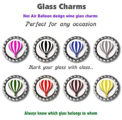 Wine glass charms set of 8 hot air balloon charms