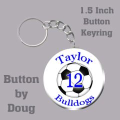1.5 Inch Round Keyring with Personalized Soccer Graphics