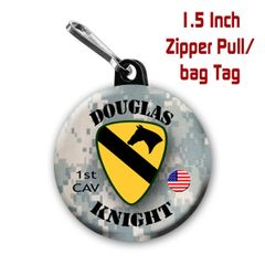 Army 1st CAV zipper pull, pin, or magnet personalized with name. CH211