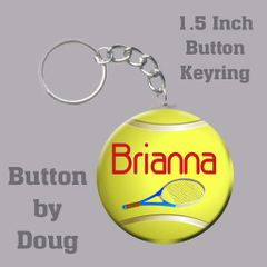 1.5 inch Round Keyring/Bag Tag with Personalized Tennis Graphics