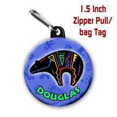 Fetish bear zipper pull, pin, or magnet personalized with name of choice CH276