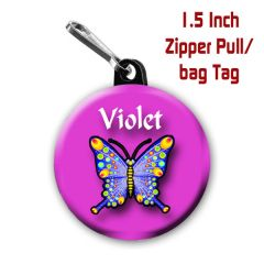 Butterfly zipper pull, pin, or magnet personalized with name of choice CH183