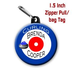 Curling zipper pull, pin, or magnet personalized with name of choice CH473