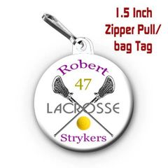 Lacrosse zipper pull, pin, or magnet personalized with name, number, team, colors CH501