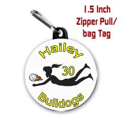 Volleyball zipper pull, pin,or magnet personalized with name, number, team name and color CH190
