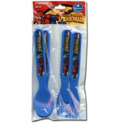 Spiderman 4pc Fork & Spoon Set