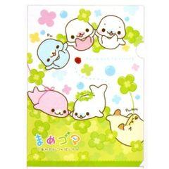 San-X Mamegoma A4 Plastic File Folder: Clovers (FY-68804)