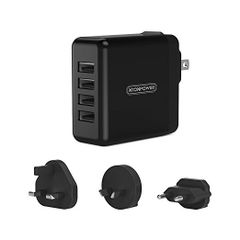 4 Port USB Wall Charger 34W 6.8A with Multiple Travel Plug Converter USA to Europe UK Australia International Power Adapter