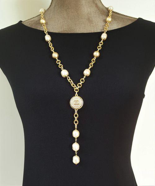 Baroque Pearl Chanel Button Necklace