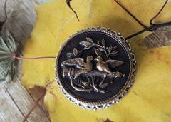 LOVE BIRDS- Antique Button Brooch