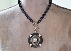 BETTE - Bold Retro, Black and Cream Necklace