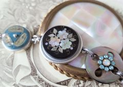 Pearl Inlay Antique Button Charm Bracelet