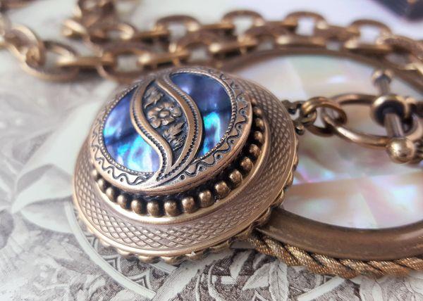 Abalone, Antique Button Necklace