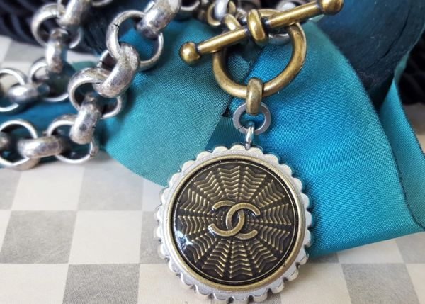 Up-cycled Chanel Button Necklace, Silver/Bronze