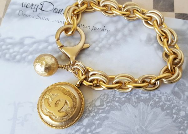 Gold Chanel Button Charm Bracelet