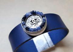 Chanel Button Leather Cuff Bracelet, Blue