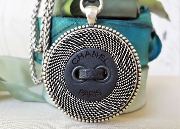 up-cycled Chanel Button Necklace, Black leather/Silver