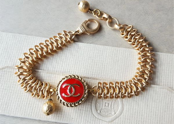 RED Chanel Button Bracelet