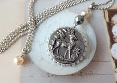 STAG - Reversible, Antique Stag and Snowflake Necklace