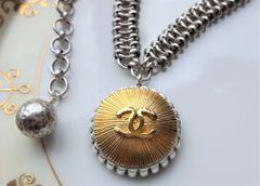 Silver and Gold Chanel Button Necklace