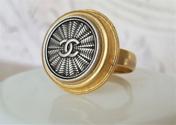 Chanel Button Ring, Gold and Silver