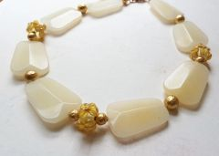 Chunky Pale Yellow Jade Flower Necklace
