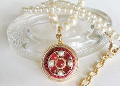 Pearl and Glass Chanel Button Necklace