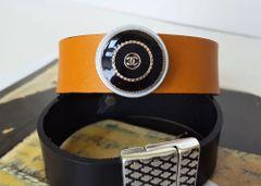 Chanel Button Leather Cuff Bracelet