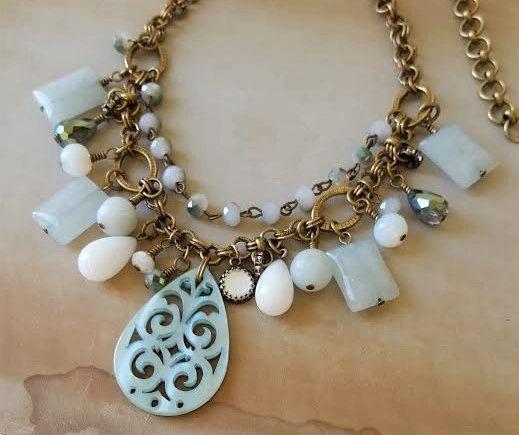 DORA - Pale Aqua Bib Necklace