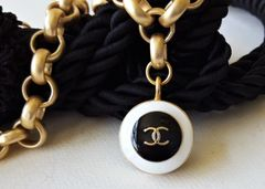 The Black and White Chanel Button Necklace