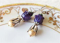 BELL - Lampwork Glass Flower Earrings, Purple/Violet